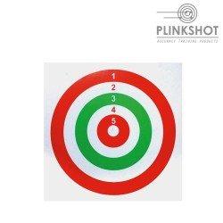 Paquete 100 dianas rojo-verde Plinkshot 14x14cm