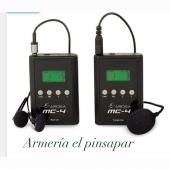 MICRO INALÁMBRICO PARA RECLAMO MC-4Permite escuchar desde el puesto todos los cantos y sonidos del reclamo. Coloque el micro cerca del reclamo. Recibirá todos los sonidos directamente en sus auriculares sin necesidad de cables. Alcance: 150 metros. Selección entre 50 canales para evitar interferencias. Calidad de sonido excelente. Contenido: 1x Transmisor, 1x Receptor, 1x Micro, 1x Auriculares estéreo. Alimentación: Transmisor: 2 pilas de 1,5V (AA) (no incluidas) / Receptor: 2 pilas de 1,5V (AA) (no incluidas) Autonomía: Transmisor: entre 10 y 15 horas. Receptor: entre 20 y 40 horas. (Medición hecha con nuestras pilas Fullwatt. Se obtiene una medición similar al utilizar pilas Energizer o Duracell. Tenga en cuenta que el uso de pilas más económicas puede reducir las horas de autonomía de este dispositivo.) También puede funcionar con pilas recargables. Se colocan las pilas y a través de un cable USB se cargan directamente sin necesidad de sacarlas. (Cable USB no incluido) Rango de frecuencias: 794-806 MHz, 863-865 MHz, 902-915 MHz. Modulación: FM, PLL. Tamaño y peso tanto del transmisor como del receptor: 75x50x25 mm. 45g (sin pilas)Consúltenos ☎️📲⬇️⬇️⬇️⬇️⬇️⬇️https://armeriaelpinsapar.com/reclamos/3491-micro-inalambrico-para-reclamo-mc-4.html